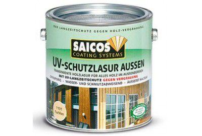 Защитная лазурь с УФ-фильтром для наружных работ SAICOS UV-Schutzlasur Aussen махагони прозрачная 2.5л